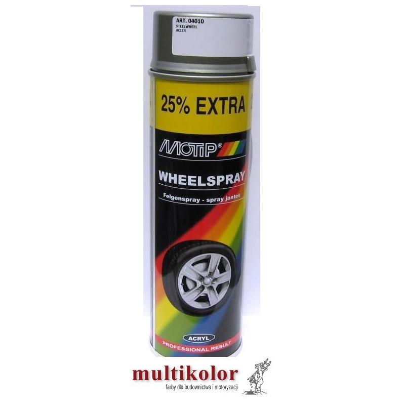 MOTIP LAKIER AKRYLOWY do felg spray 500ml srebrny grafit złoty biały