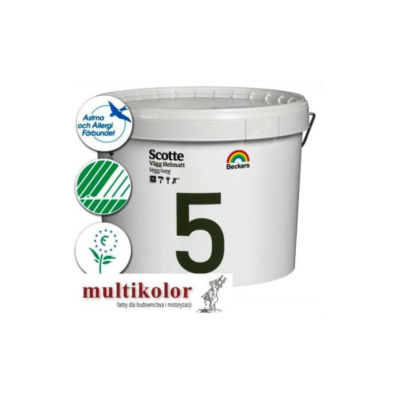 SCOTTE HELMATT 5 profi farba emulsyjna lateksowa matowa wewnętrzna biała (baza A/vit) Beckers